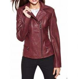 Women Fashion Maroon Color Leather Jacket , Biker Leather Jacket For Womens