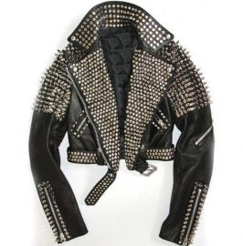 Women Fashion Rock Steam Punk Style Studded Biker Leather Jacket