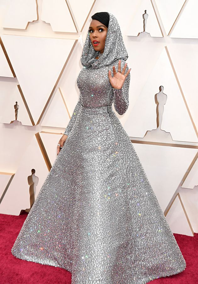 """Janelle Monáe - the """"Dirty Computer"""" singer Sparkling from head to toe on 2020 Oscars Red Carpet In Draped Hood"""